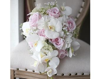 Phalaenopsis Elegant Orchid Teardrop Natural Touch Silk Flower Bride Bouquet SALE! Wedding Bouquet White Orchid Cascade
