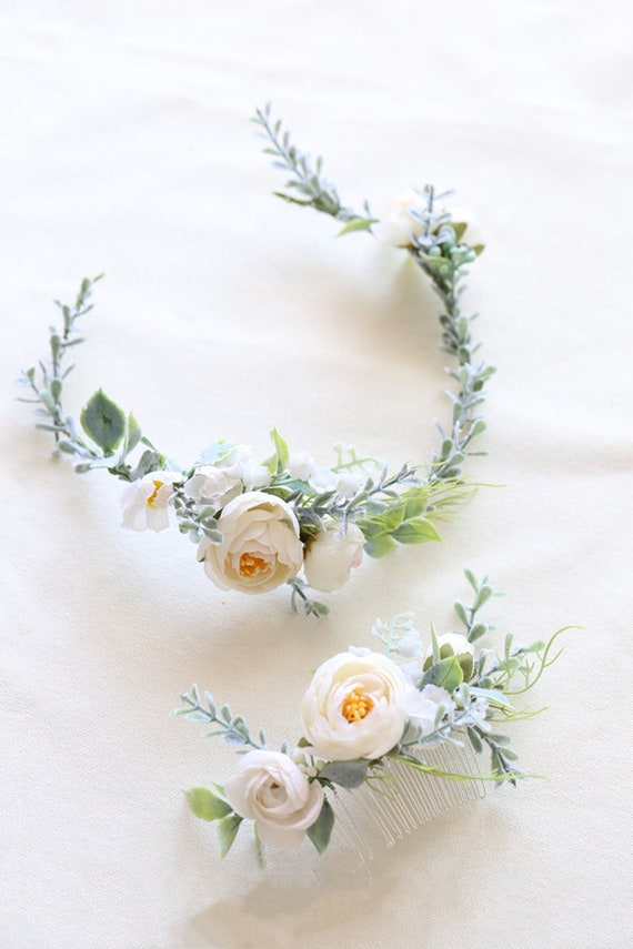 Boho Classic Rustic Wedding Sylvia Ranunculus Peony Ivory Greenery Bridal Comb Peony Flower Hair Comb for Wedding