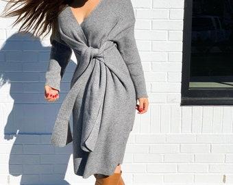 0ae2355f30 V-Neck Wrap Long Sleeve Sweater Dress