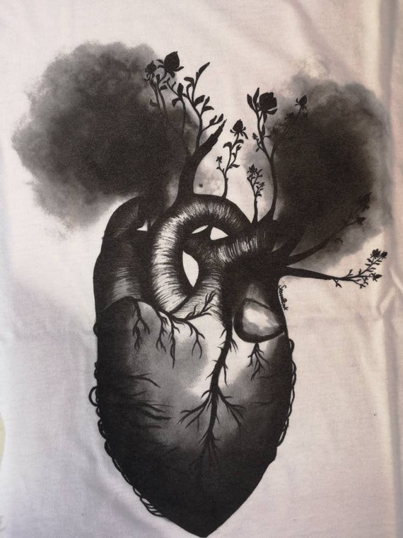 Floral Heart Illustration T-shirt with charcoal