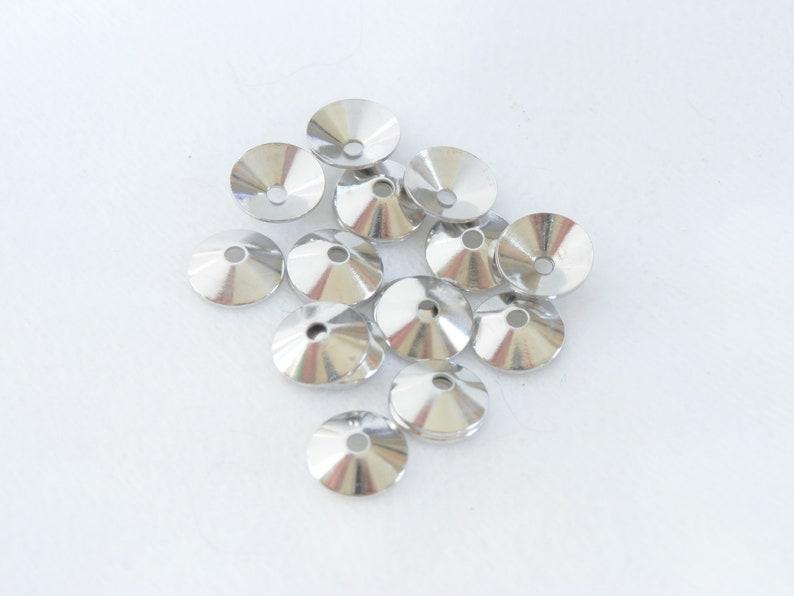 Bead Cap Cone Silver Color Silver Plate Steel 7 x 2 mm