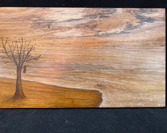 Spring Dive, wooden painting, wood fires
