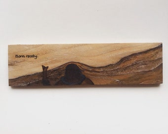 First Snow Skiing: wooden painting, pyrography