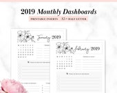 2019 Printable Monthly Dashboard A5, half letter - Month at Glance - Monthly Overview - Monthly Goals - Planner Inserts