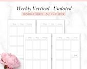 A5, Half-Letter Printable Weekly Vertical Undated Planner Insert, fits Filofax A5, Kikki.k Large, Carpe Diem, Erin Condren stickers