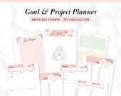 A5, Half-Letter Printable Goal & Project Planner, Productivity Planner, To-Do List, Goal Tracker, fits Kikki K Large, Filofax A5