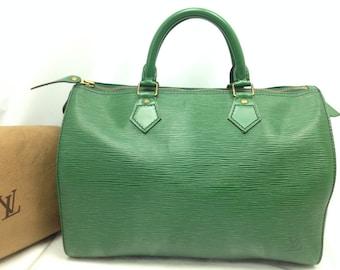 dbf00ca60afff Authentische Louis Vuitton Epi grün baldige 30 Boston Tasche Handtasche  Vintage