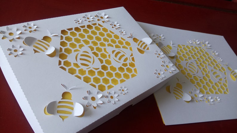 Set Box and 3D Honeycomb Paper Cut Art, Bee nest Pop Up, DIY, SVG, Cutting  file, Pdf templates for hand cutting