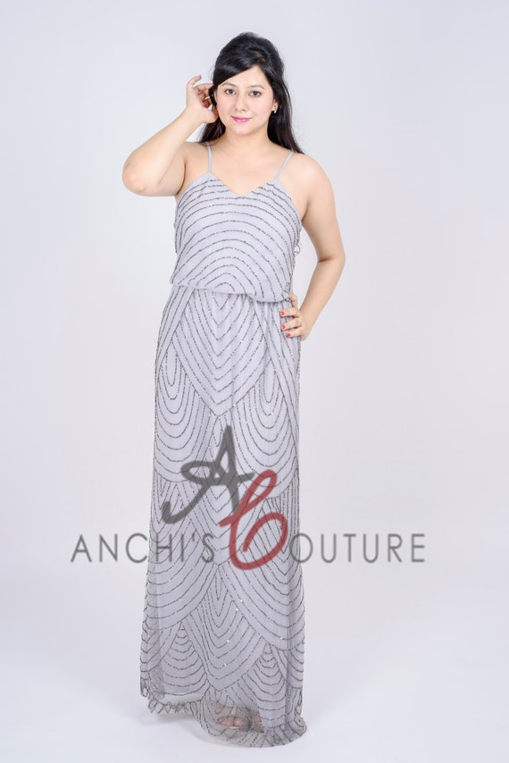 Custom Size Color Plus Size Silver Grey Art Deco Blouson Beaded Gown with  Spaghetti Straps