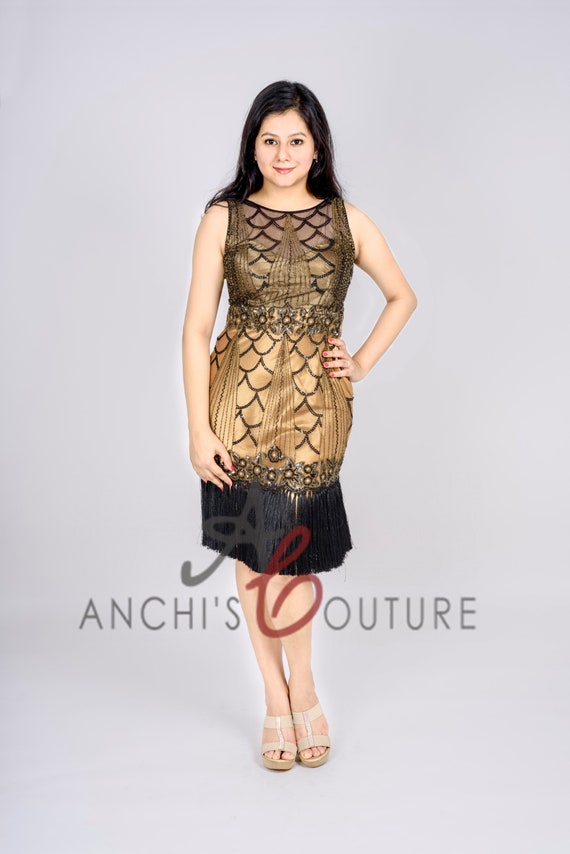 Custom Size Color Plus Size Art Deco 1920s Golden Black Short Retro Flapper  Dress with Illusion Neckline and Open Back