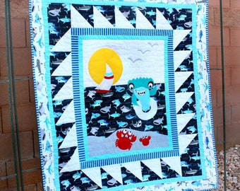 Shark And Crab Meet Quilt And Pillow PDF Downloadable Pattern