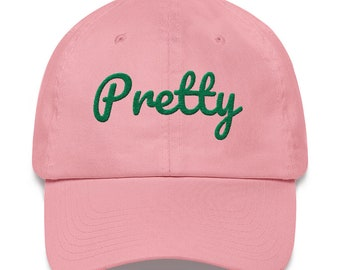 9a98524e32f Pretty 1908 Front Back Emroidered Pink Green Dad Hat AKA Alpha Kappa Alpha