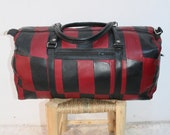 Moroccan Bag Real Leather Vintage Duffle Luggage Weekend Overnight Travel Bag Black Red