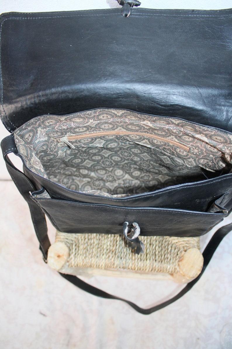 gift for her Wanderlust Bag Black Bag Black Shoulder Bag Moroccan leather bag Leather Satchel Cross Shoulder Straps Berber bag
