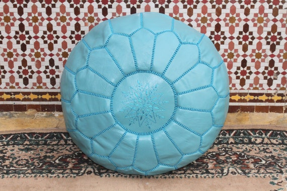 Moroccan Pouf turquoise Moroccan leather pouf ottoman footstool handmade pouf