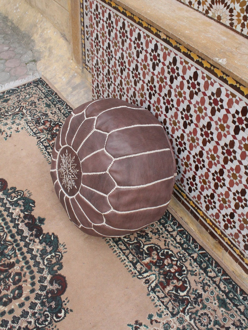 moroccan home decor handmade BROWN Leather pouf Handmade Moroccan Pouf Leather pouf ottoman luxury brown floor pouf