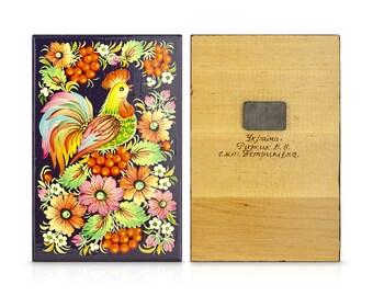 Handiwork Painting Folk Art Magnet Wooden Present Floral Ornament