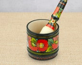 Mortar with pestle Acacia wood kitchen utensil Herb grinder Kitchen tool Russian souvenirs Mortar pestle with floral ornament Gift for woman