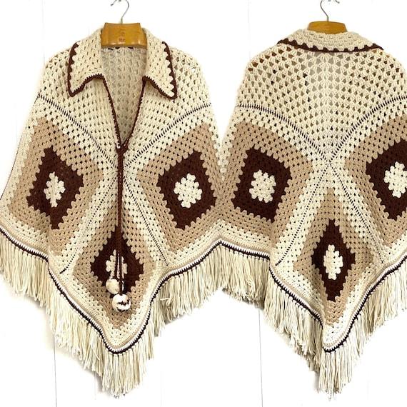 Crochet Hand Knit Granny Square Boho Hippie Fringe