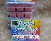 grapefruit wax tart melts, fruity wax melts, strong wax tart melts