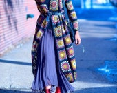 Women 39 s Cardigan crochet in Tehnica granny square boho chic style crochet dress gift woman gypsy Afghan crochet women 39 s clothing