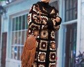 Women 39 s long cardigan hand knitted crochet in Tehnica granny square crochet clothing woman boho chic style gift beautiful woman Rebecca