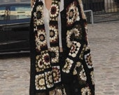 Women 39 s cardigan crochet in Tehnica Granny square boho chic style cardigan and gift scarf woman gypsy Afghan crochet women 39 s clothing