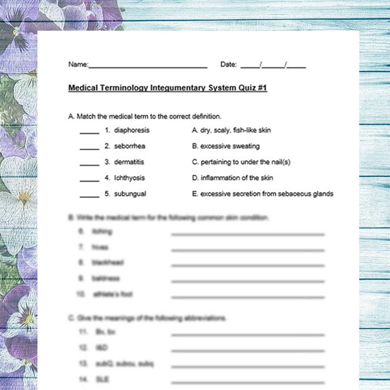 Medical Terminology Integumentary System 2 Quiz Pack Nursing Etsy