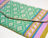 Vietnamese Wallets - Green, Purple, Tan - Handmade - White Thai People Western Vietnam - Organic Cotton -Natural Dye - Tribal - Plant Dye -