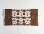 Vietnamese Wallet - Brown White -Handmade - White Thai People of Western Vietnam - Organic Cotton -Natural Dye - Tribal - Plant Dye -
