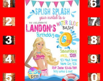 Barbie Invitation Birthday Pool Party Digital Printable Water Slide Bash