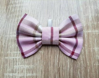 "Pink tartan dog bow tie! 4"""