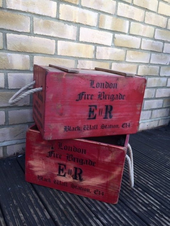 Vintage style wooden storage crate- London fire brigade