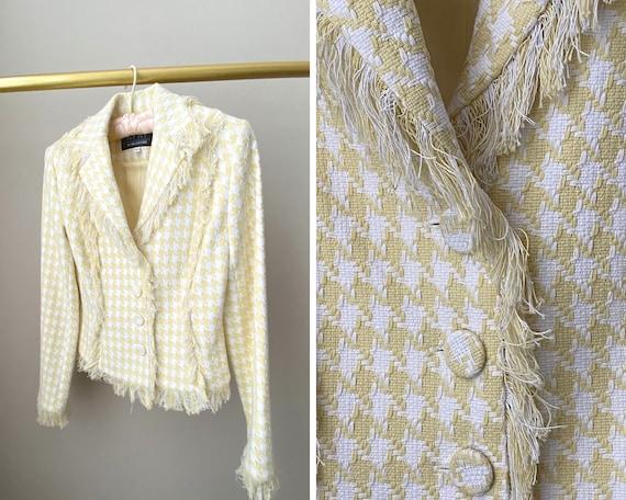 """Vintage 1990's Boucle Yellow & White Blazer """"Cluel"""