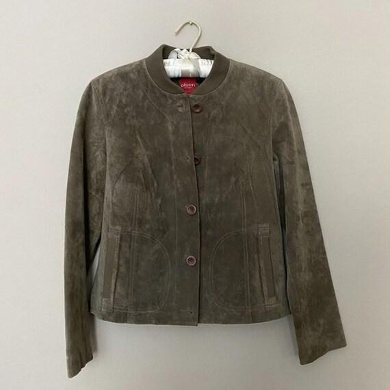 Vintage Olive Suede Bomber Jacket
