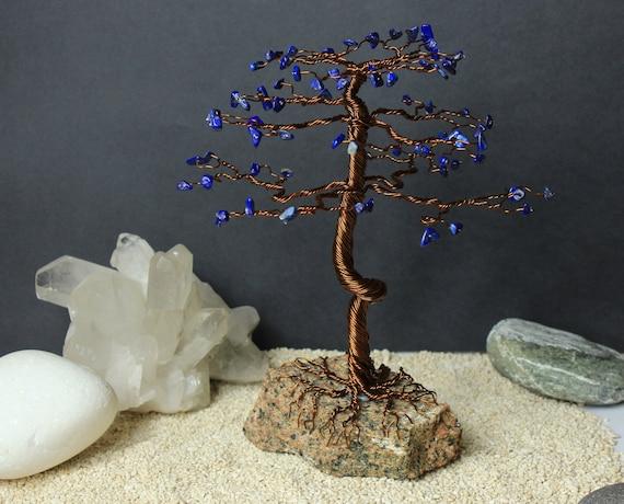 Lapis Lazuli Bonsai Tree On Rock Gemstone Tree Copper Wire Etsy