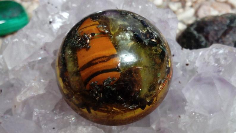 Tiger's Eye Orgone Dome Orgonite EMF Protection Reiki Therapy Feng Shui  Decor Chakra Art Crystal Pyramid Orgone Generator
