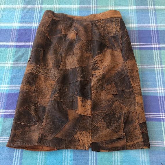 Vintage 70s Leather Patchwork Skirt