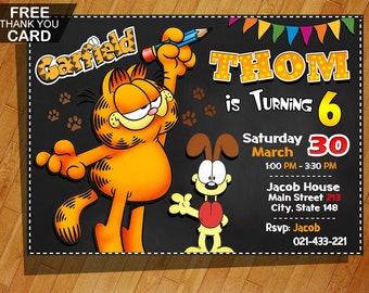 Garfield Birthday Invitation Party Printable Digital Invite
