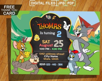 Tom And Jerry Invitation Birthday Party Personalized Printable Digital Invite