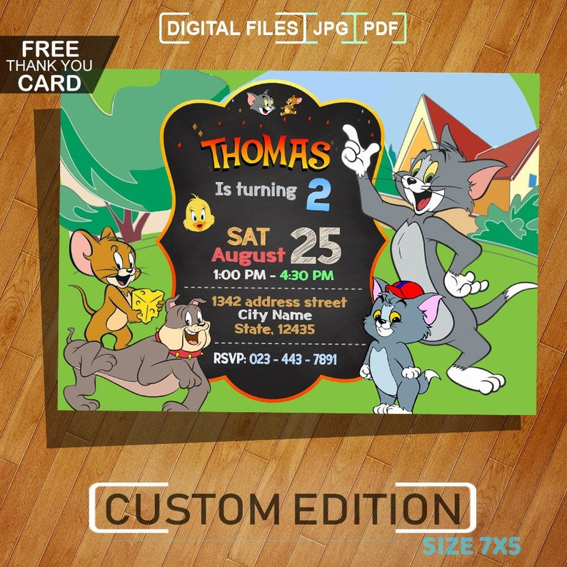 Tom And Jerry Invitation Birthday Party