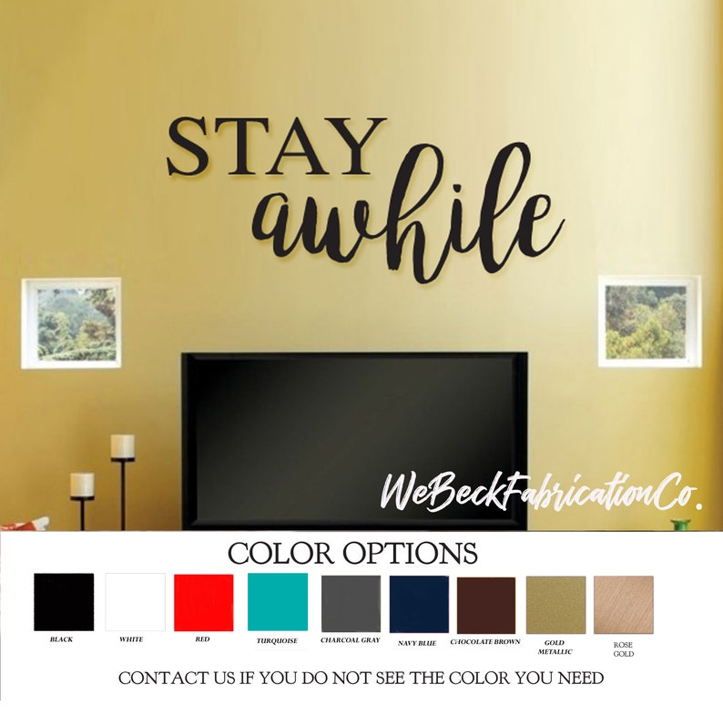 Family Wood cut Words - Stay Awhile - Painted Letters sign Wooden cutout  Wood Shapes - Rose Gold Red Black Turquoise Navy Gray Brown
