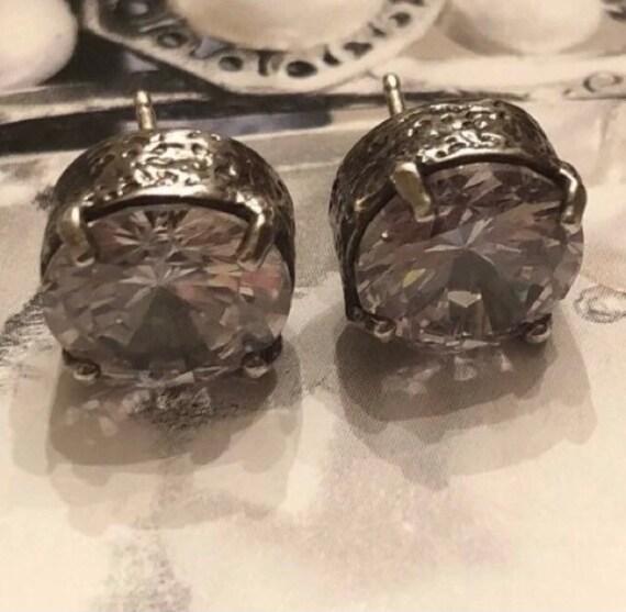 925 Sterling Silver Love Heart Pink CZ Coronation For Love Crown Stud Earrings