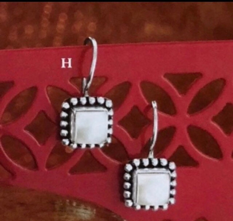 Silpada Sterling Silver and Pearl Button Frame Earrings