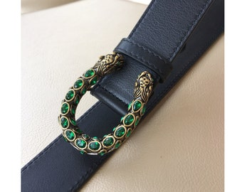 4eae6c81f02 35mm Top layer Calf-leather belt fashion snake diamond head GG belt buckle  suppliers