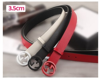 513b05c4cc1 3.5cm Top layer Calf-leather belt fashion red black GG belt buckle suppliers