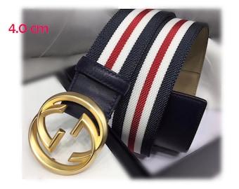 7707057b707 4.0cm Top layer Calf-leather belt fashion Rainbow strip GG belt buckle  suppliers