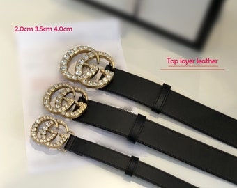 a07862dcaa7 20mm 35mm 4.0mm(mother s day only) Top layer Calf-leather belt fashion  diamond GG belt buckle suppliers