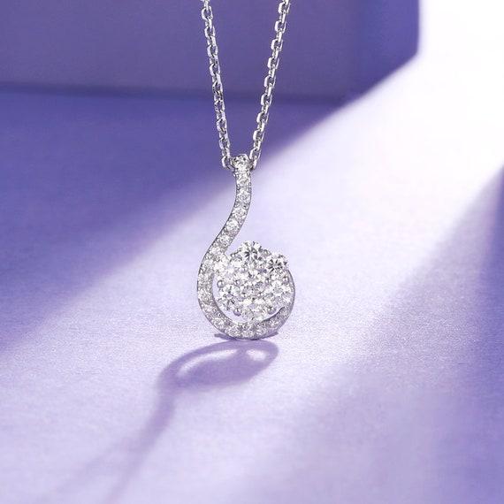 Bridal Diamond Necklace Diamond Cluster Pendant Diamond Etsy