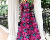 Long maxi dress elegant sleeves long Boho fashion Floral Jacquard dress fall winter vintage